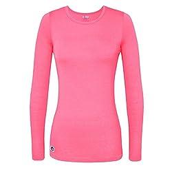 Sivvan Women's Comfort Long Sleeve T-shirt Underscrub Tee - S8500 - Neon Pink - S