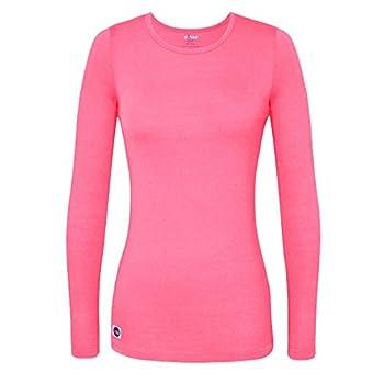 Sivvan Women's Comfort Long Sleeve T-shirt Underscrub Tee - S8500 - Neon Pink - S 0