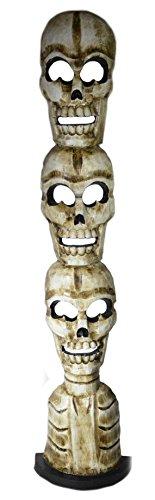 Huge Hand Carved Skull Scream Skeleton Mask Tiki Totem Pole Statue 3 FT