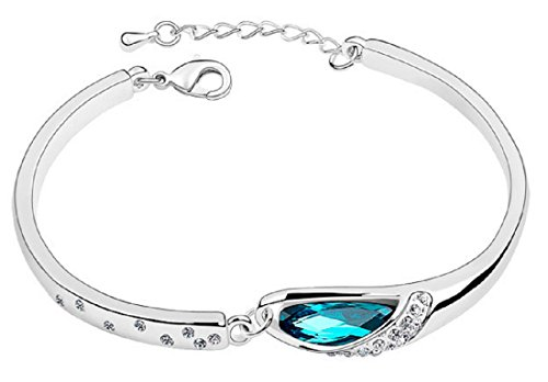 ShonanM Crystal Light Blue Teardrop Bangle Alloy Bracelet Women Waterford Crystal Christmas Tree Topper