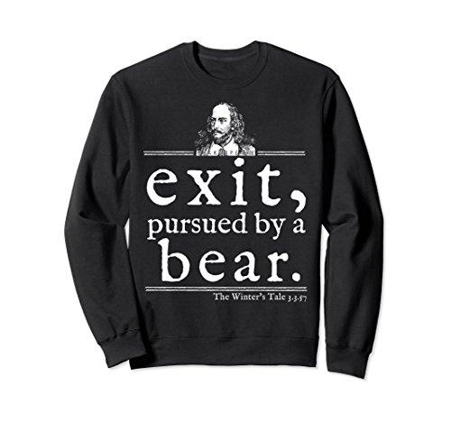 Unisex Exit Pursued Bear Shakespeare Sweatshirt Stage Director Gift Small (Black Bear T-shirt Sweatshirt)