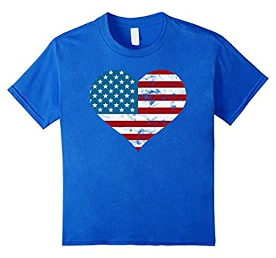 USA Flag Heart Distressed Patriotic T-Shirt 4th of July Gift