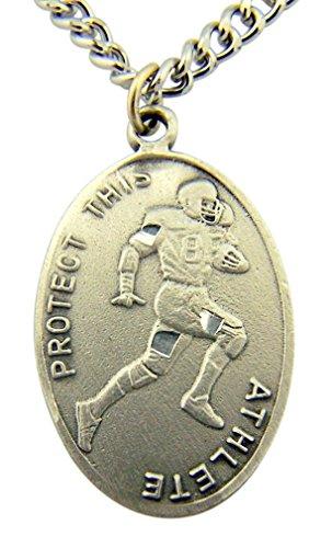 Medal Pendant Football (Silver Tone Patron of Sports Saint Sebastian Football Athlete Medal, 1 Inch)