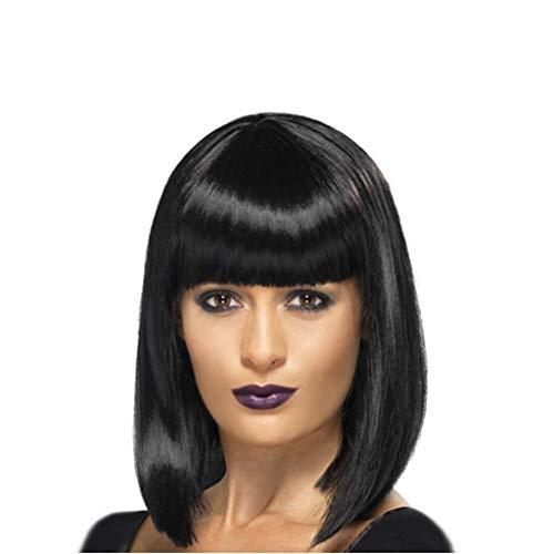 Dumanfs Bob Wigs For Women, Fashion Fiber Black Wig Brazilian Virgin Wig Short Straight Full Hair Fluffy Head Cover -