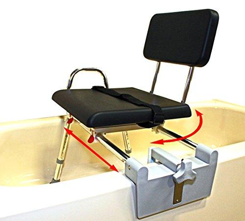 Padded Tub-Mount Swivel Sliding Bath Transfer Bench (77761) - Regular - Heavy-Duty Shower Bathtub Chair - Eagle Health (Tub Mount Sliding Swivel)
