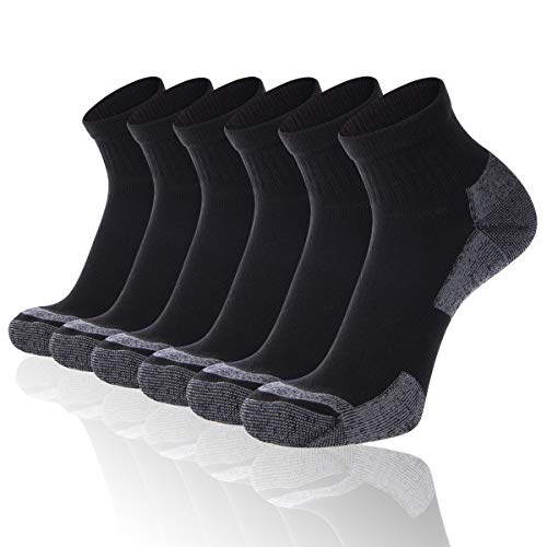 FLYRUN Men's Ankle Ahtletic Socks Men Comfort Cushion Moisture Wicking Work Sock 6 Pack