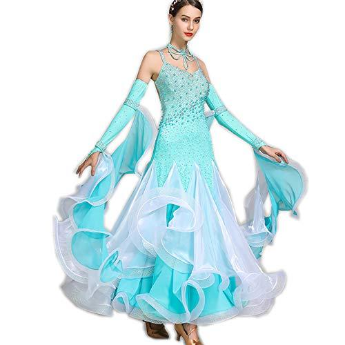 acc8296b55466 水色 高級品 正装ロングワンピース 競技会ドレス 上品レディース社交ダンス衣装 garuda B07MDZKJ8L 水色