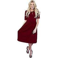 e2c1be0f8de Mikarose Natalie Modest Dress In Burgundy Crepe