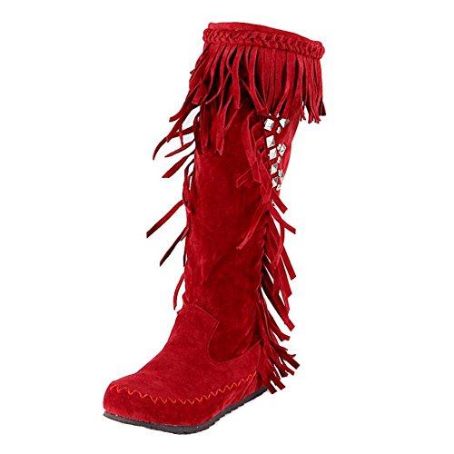 Enfiler Femmes Taoffen Mi Red Bottes A Classique 1551 mollet Y7q71xA
