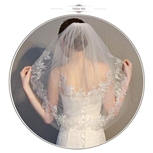 (Yalice Women's Silver Flower Bride Wedding Veil Ivory Lace 2T Two-tier Elbow Bridal Veils Soft Tulle Hair Accessories)