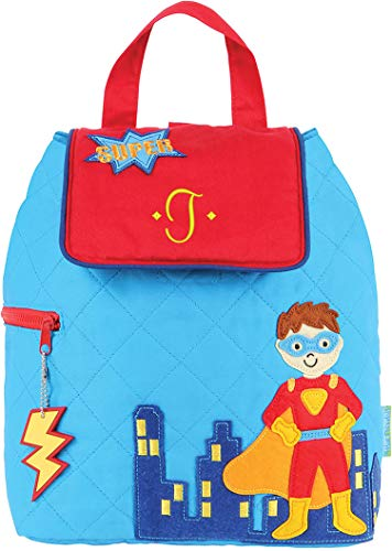 - Monogrammed Me Quilted Backpack, Blue Super Hero, with Embroidered Sweetheart Initial T