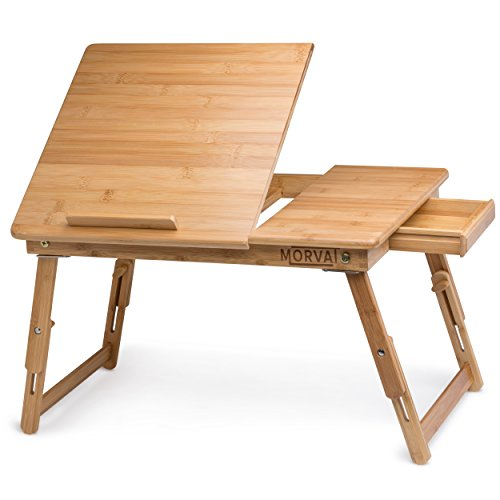 - MORVAT Multi-Purpose Bed Desk for Laptop, Adjustable Laptop Tray for Bed, Portable Computer Bed Desk- Tilting Shelf with Magnetic Drawer, 100% Natural Bamboo Wood