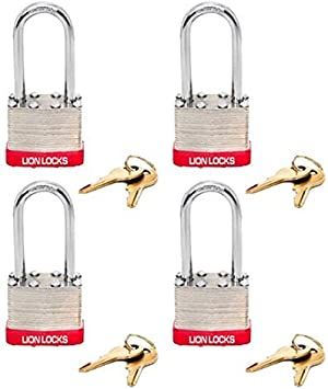 Lion Locks 5RLS Keyed-Alike Padlock, 1-9/16-inch Wide 2-inch Shackle, 4-Pack by Lion Locks: Amazon.es: Bricolaje y herramientas