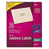 Avery, 5311, Clear Copier Labels, Self Adhesive, 1amp;quot; x 2 3/4amp;quot, 33 Labels Per Sheet, 8 1/2amp;quot; x 11amp;quot; Sheet, 70 Sheets