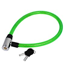 uxcell® Bike Bicycle Motorcycle 630mm Length Plastic Coated Security Cable Lock Green
