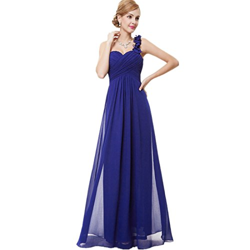 Loel Women's Flower One Shoulder Long Bridesmaid Dress Chiffon Plaza Gown for Evening Party