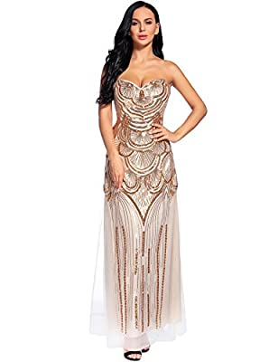 Flapper Girl 1920s Sequin Floral Maxi Long Gatsby Flapper Prom Club Dress