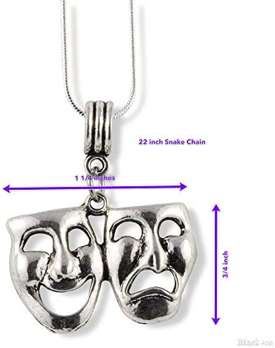 Actor Acting Sterling Silver Comedy Tragedy Masks Pendant Theater Pendant Drama Pendant Theatre Theatre Pendant Acting Pendant