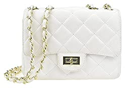 Covelin Women S Leather Fashion Handbag Quilting Envelope Cross Body Shoulder Bag White