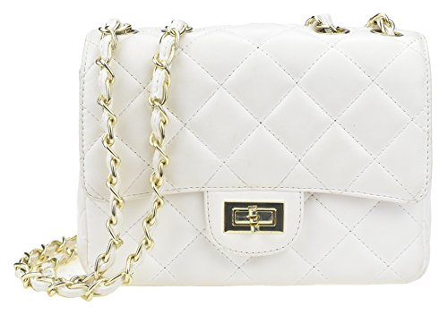 White Bag Patent - Covelin Women's Leather Fashion Handbag Quilting Envelope Cross Body Shoulder Bag White