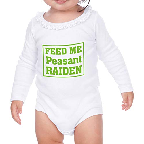 Cute Rascals Feed Me Peasant Raiden Long Sleeve Scoop Neck Girl Sunflower Cotton Baby Ruffle Bodysuit - White, 18 Months
