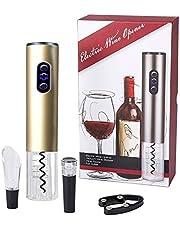 Kurkentrekker, bi-comfort elektrische wijnopener, automatische flesopener, wijnflesopener, luxe cadeauset bevat foliesnijder, wijnschenktuit en vacuüm wijnsluiting