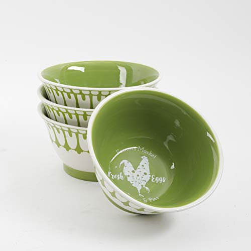 Urban Market by Gibson 99880.04RM Life on the Farm 4pk Footed, Decorated, White, Green Bowls