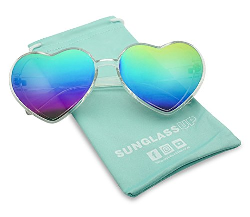 Oversized Heart-Shape Round Colorful Flat Mirror Lens Love Sun Glasses (Clear Frame, Rainbow)