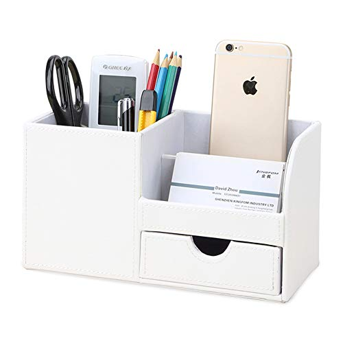 KINGFOM Multifunctional Desk Organizer Pencil Holder 3 Compartments with Drawer Cell Phone Box White ()