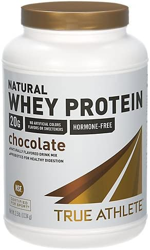 True Athlete Natural Whey Protein Chocolate, 20g of Protein per Serving Probiotics for Digestive Health, Hormone Free NSF Certified for Sport 2.5 Pound Powder