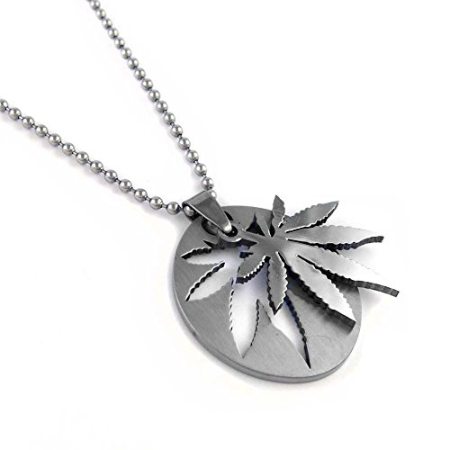 Men's Stainless Steel Bead Chain Pendant Necklace Silver Color Weed Necklace