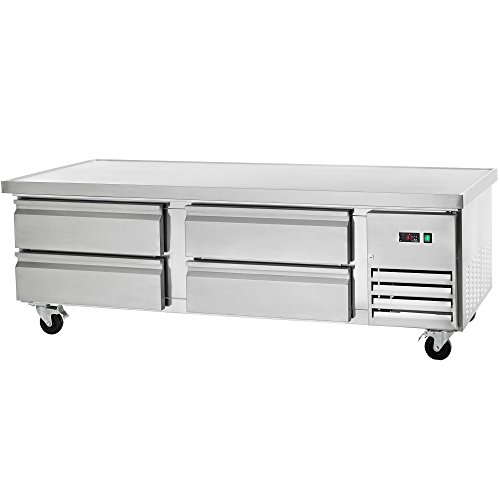 Arctic Air ARCB72 4 Drawer Refrigerated Chef Base with Insulated Top and Easy to Mount Casters, Stainless Steel Insulated Top Mount