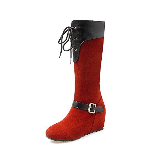 AgooLar Damen Mattglasbirne Niedriger Absatz Mitte-Spitze Stiefel mit Wasser Diamanten, Schwarz, 36