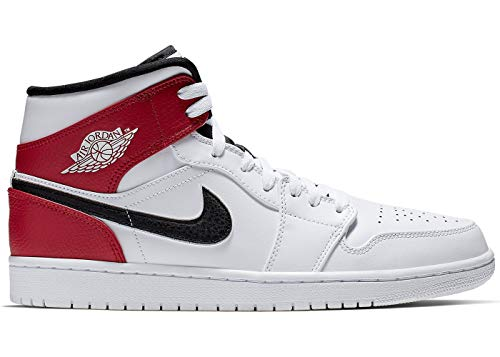 (Nike Men's Jordan AJ 1 Mid White/Black/Gym Red Leather Casual Shoes 9.5 M US)