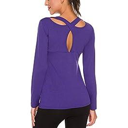 iWoo Women's Long Sleeve Yoga Tops Activewear Running Workouts T-Shirt Cross Back Sports Shirts Women Yoga Shirt