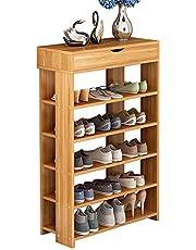DlandFurniture 29.5inches Shoe Rack 5 Tier Free Standing Wooden Shoe Storage BHCA-L24-DL