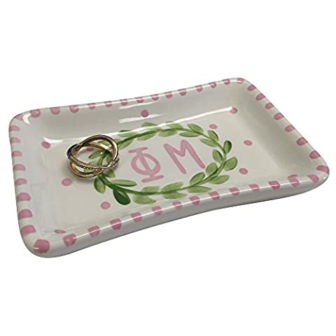 Phi Mu Sorority Trinket Tray Ring Dish Made of Ceramic Material Letters Officially Licensed