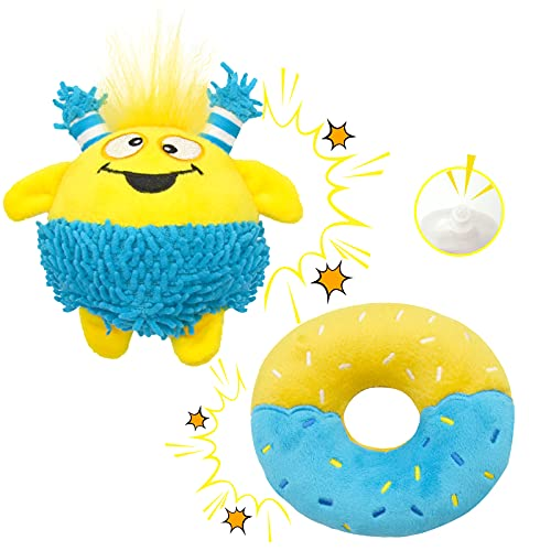 Lepawit 2Pack Dog Squeaky Toys Soft Stuffed Dog Plush Toys Animated & Donut Design Interactive Fetching Dog Toy Teeth Cleaning for Small Dogs Puppy Essentials