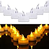 Eleanore Tea lights, Flameless LED Tea Lights Candles,Realistic Bright Flameless LED Tea Light Candles,Flickering warm yellow, Battery operated Fake Candles, Unscented Tealights, Pack of 24