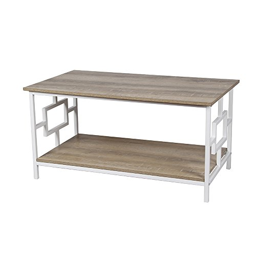 - GIA  Coffee Table with Lower Storage Shelf, Ash/White