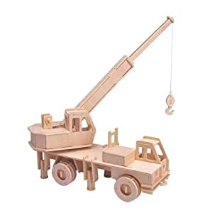 amazoncom crane truck 3d wooden puzzle toys amp games