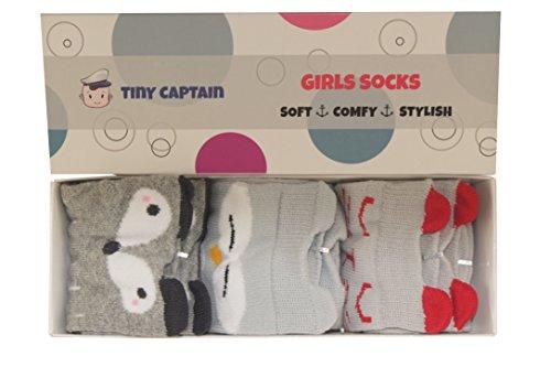 Baby Girls Knee High Socks Non Slip 0-24 Month Old Leg Warmer Sock Toddler Gift Set From Tiny Captain (Small, Grey)