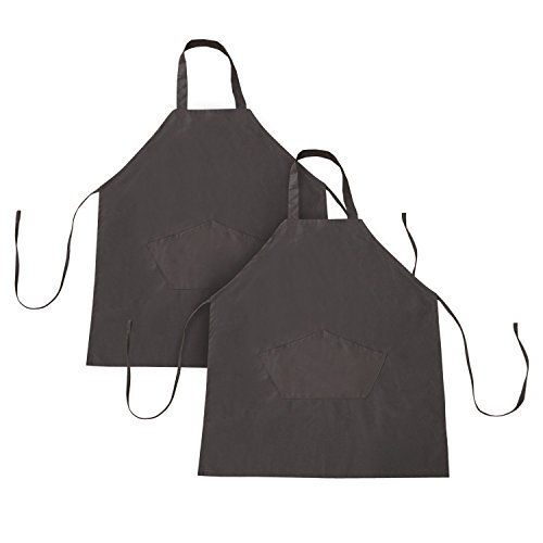 Deconovo 2 Pack Recycle Cotton Bib Apron Waterdrop Resistant with 2 Front Pockets for Kitchen Restaurant Barbecue Parties Brown (Apron Front Bar)
