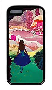 5C Case, iPhone 5C Case Cover, Customize Soft Rubber TPU Black Cases Cartoon Alice In Wonderland Shoockproof Protective Case Cover for New Apple iPhone 5C