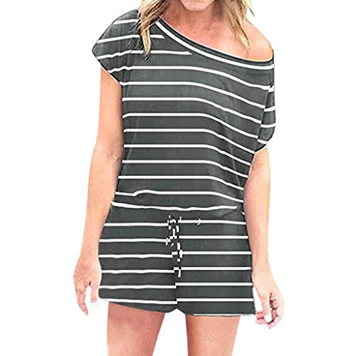 VEZAD Women's Summer Short Sleeve Striped Jumpsuit Short Pant Rompers