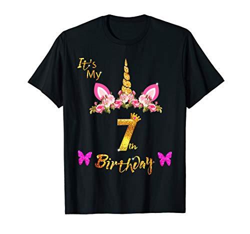 Unicorn Birthday Shirt For Girls OMG It's My 7th Birthday -