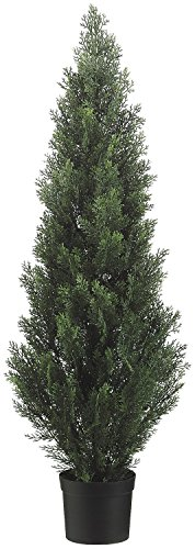 Two 48 Inch Tall Outdoor Artificial Cedar Topiary Tree UV Rated Potted Plant by Silk Tree Warehouse