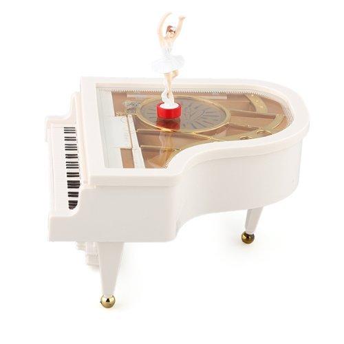 Dcolor Carillon Scatola Musicale Music Box Pianoforte a Coda Bianco Ballerina Nuovo