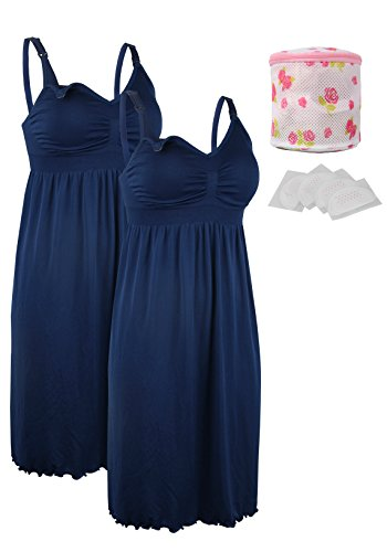 iloveSIA 2pack Women's Seamless Maternity Breastfeeding Nursing Dress with Build-in Bra Blue/Blue Size L