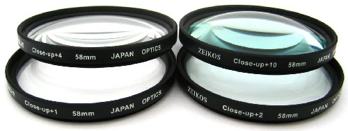 Zeikos 58MM Macro Close-Up Filter Set (+1 +2 +4 +10) with High-Quality Pouch and Microfiber Cloth for Canon Digital SLR Camera with (18-55mm, 75-300mm, 50mm 1.4, 55-200) Canon Lenses by Agfa